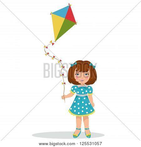 Vector illustration of a cheerful girl flying kite