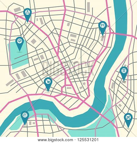Vector flat abstract city map with pin pointers and infrastructure icons, trendy colors