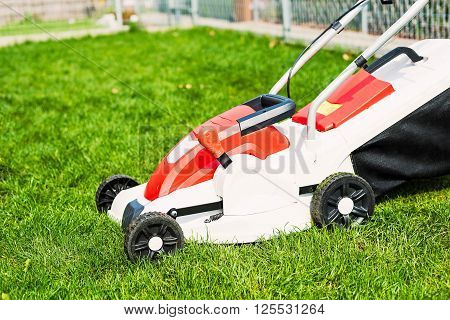 Lawn Mower Cutting Green Grass In Garden.