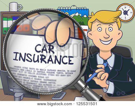 Car Insurance. Paper with Inscription in Man's Hand through Magnifying Glass. Multicolor Modern Line Illustration in Doodle Style.