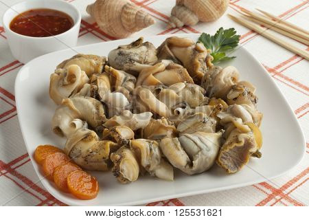 Fresh cooked common whelks on a dish