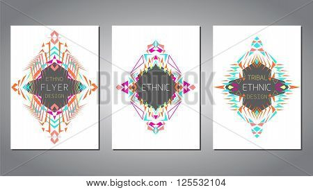 Vector set of geometric colorful brochure template for business and invitation. Ethnic, tribal, aztec style. A4 layout format. Modern ethno ikat pattern