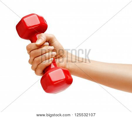 Woman's hand holding dumbbell isolated on white background. Close up concept of healthy lifestyle