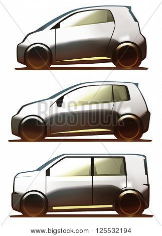 Car body microcar, city car and kei-car isolated on white background