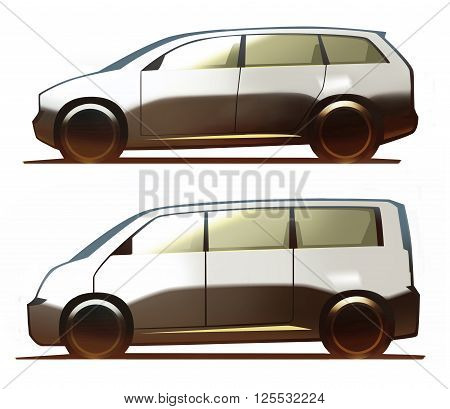 Car body minivan and microbus isolated on white background