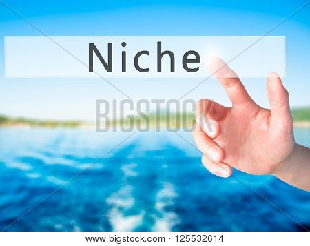 Niche - Hand Pressing A Button On Blurred Background Concept On Visual Screen.