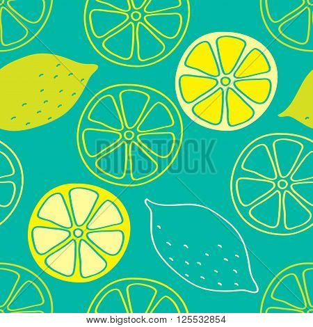 Lemons hand painted on a turquoise background create a continuous pattern. Can be used for textile printing packaging.