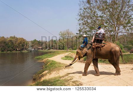 LAMPANG, THAILAND - FEBRUARY 18, 2016: Natural area of Thai Elephant Conservation Center with elephant riders near the lake on February 18, 2016. The Center - TECC founded in 1993 under Royal Patronage