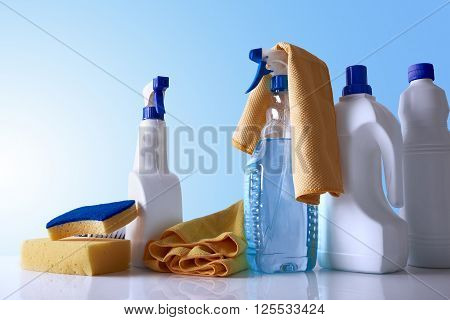 Cleaning Products And Equipment On Table Overview