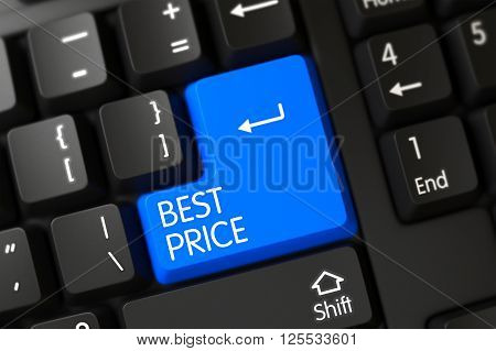Best Price Close Up of Black Keyboard on a Modern Laptop. Best Price Concept: Black Keyboard with Best Price on Blue Enter Keypad Background, Selected Focus. 3D.