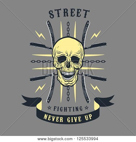Colored vector illustration street fighting club emblem. The skull on the background of the cross of razors and chains.