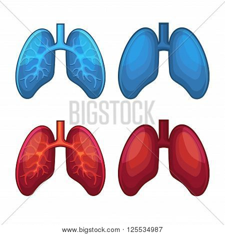 Red and Blue Human Lung Icons Set. Vector