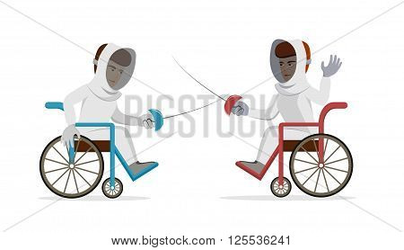 Physically disabled athletes fencing in a wheelchair. Handicapped sportsmen with rapiers. Vector flat illustration on isolated background. Concept for summer paralympic games, recovery, swordplay.