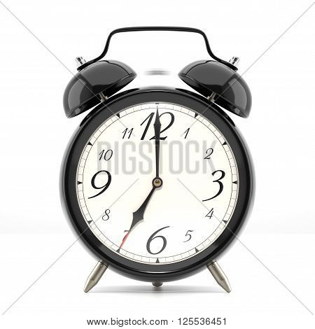 Ringing alarm clock. Black table shelf vintage clock on white background. Deadline, wake up, time is up, act fast, sale reminder, hot prices concept. 3D illustration