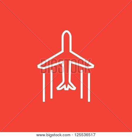 Cargo plane line icon.