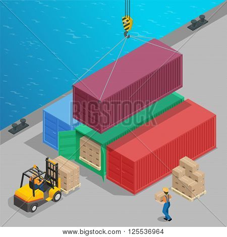 Crane lifts a big container with cargo isometric. Global logistics. Freight transportation 3d concept. Cargo loading operation. Shipment. Delivery flat 3d isometric illustration