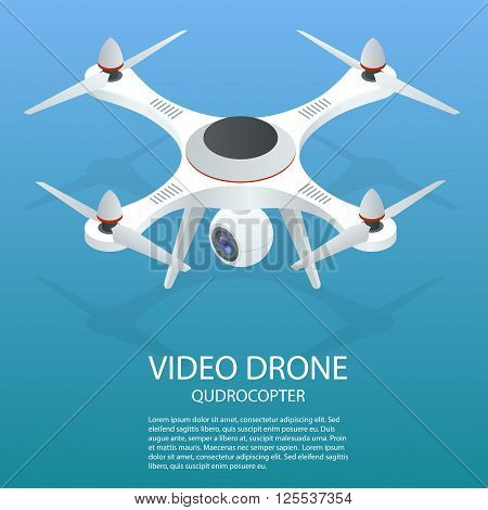 Drone isometric. Drone EPS. Drone quadrocopter 3d isometric illustration. Drone with action camera icon. Drone logo