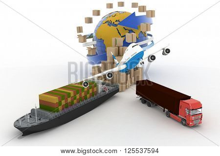 Cardboard boxes around globe, cargo ship, truck and plane