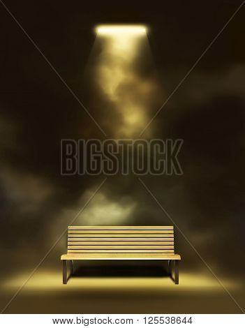 Wooden bench under the lantern at night 3D illustration