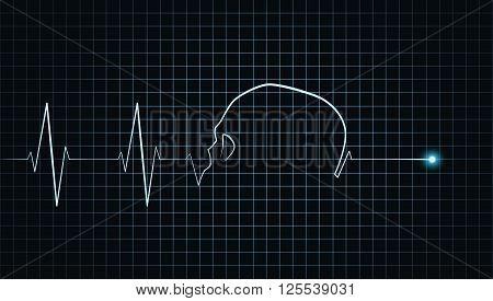 Skull symbolizing heart stops beating on cardiogram