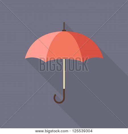 Umbrella flat icon with long shadow isolated on background