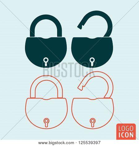 Lock icon. Padlock icon. Padlock symbol. Padlock open icon isolated. Padlock closed icon isolated. Vector illustration