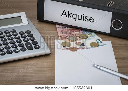 Akquise Written On A Binder