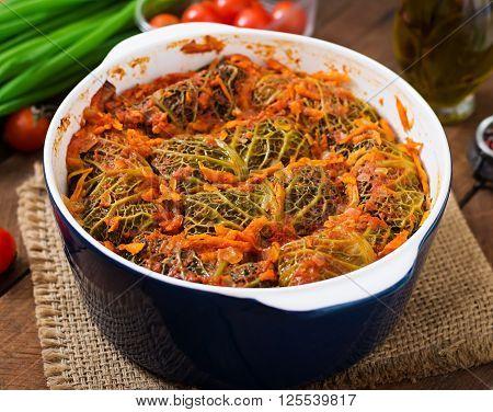 Stuffed Savoy Cabbage Rolls In Tomato Sauce