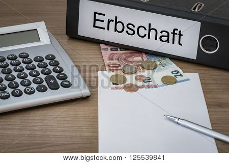 Erbschaft Written On A Binder