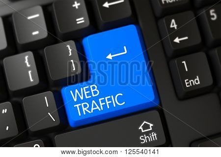 A Keyboard with Blue Keypad - Web Traffic. Button Web Traffic on Modernized Keyboard. Black Keyboard with the words Web Traffic on Blue Button. 3D Illustration.