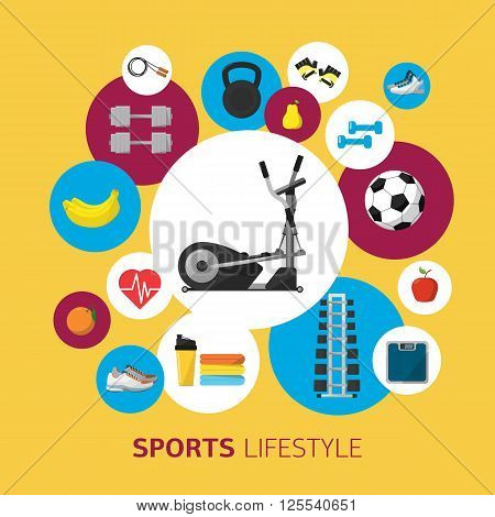 Sports equipment background concept. Flat vector icon design. Fitness symbol. Lifestyle activity sign. Ball, dumbbells, kettlebells and other sports equipment.