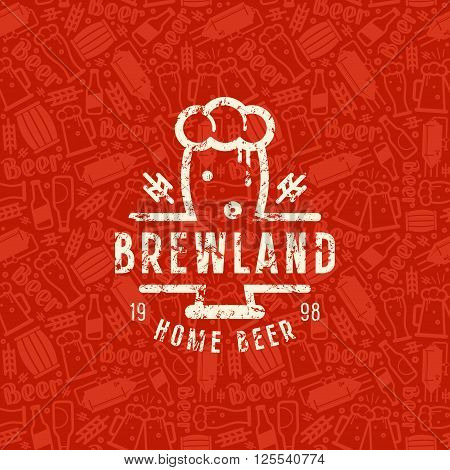 Craft Beer Brewery Seamless Pattern And Emblem