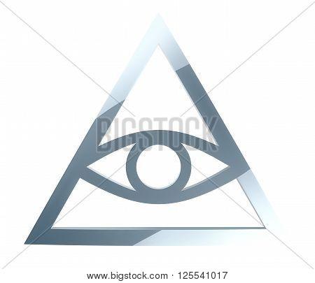 Simplistic illuminati sign isolated on white background 3D illustration