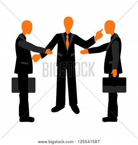 Presentation of colleagues at the meeting. Business etiquette. Handshake between businessmen.