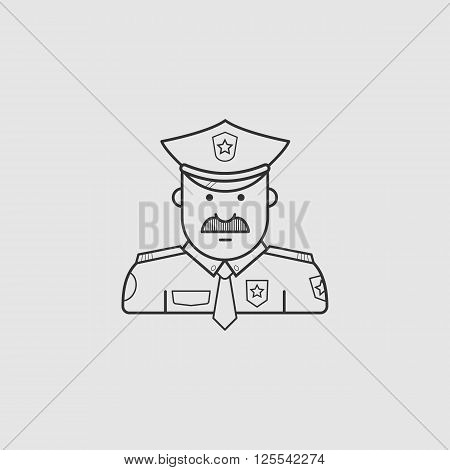 icon police in black uniforms with police badge