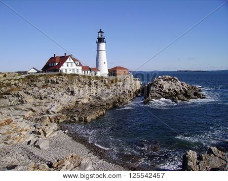 Distance view of Maine iconic light house