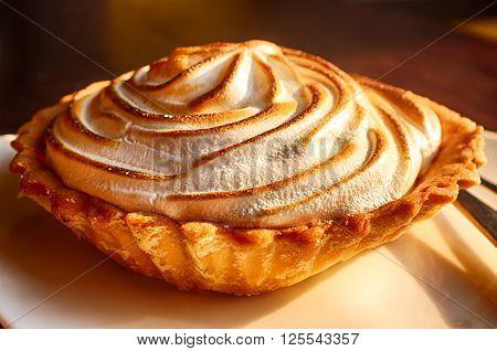 Close up shot of a lemon meringue pie ** Note: Shallow depth of field