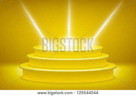 Golden Podium In The Form Of Hexagonal Floodlighting