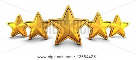 Five gold star rating (done in 3d)