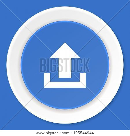 upload blue flat design modern web icon