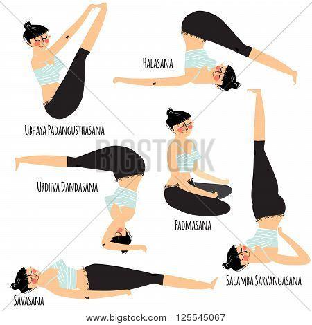 Yoga asana. Set with cartoon woman exercising various different yoga poses training