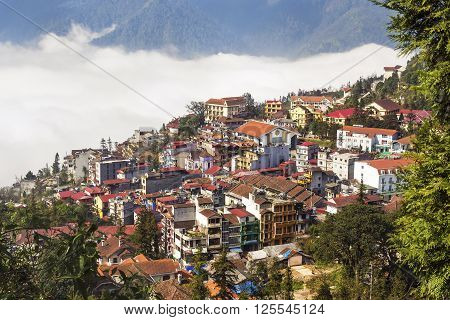 Aerial view of Sapa town, Lao Cai Province, North Vietnam.