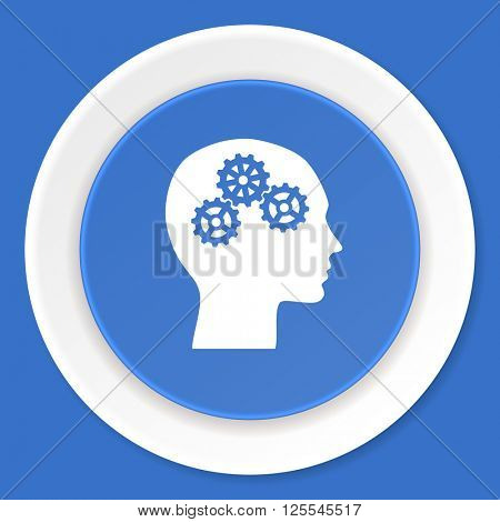 head blue flat design modern web icon