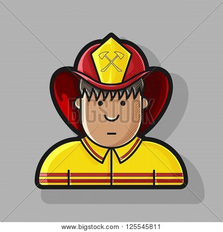 contour icon firefighter in a yellow form and a red cap
