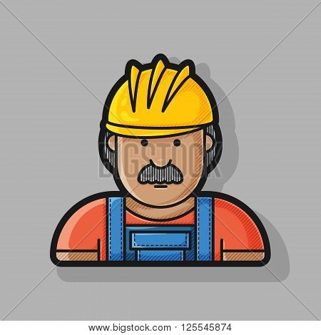 contour icon builder in helmet and overalls