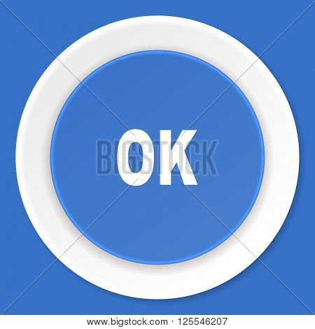 ok blue flat design modern web icon
