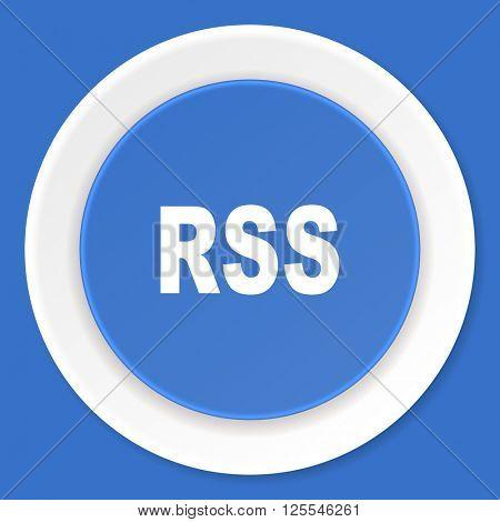 rss blue flat design modern web icon