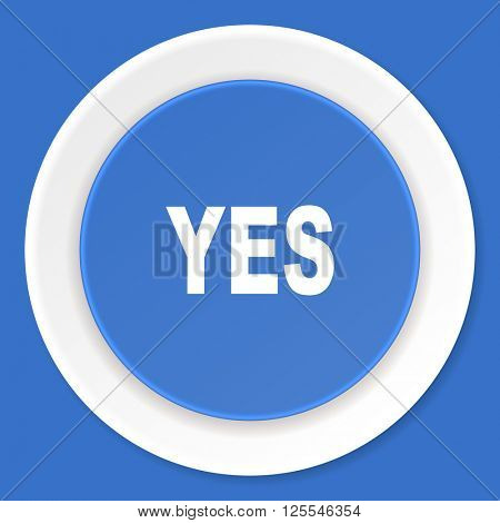 yes blue flat design modern web icon