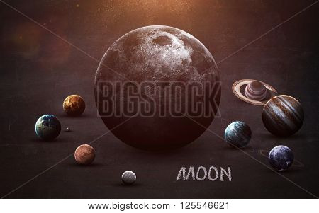 Moon - High resolution images presents planets of the solar system on chalkboard. This image elements furnished by NASA