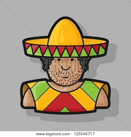 flat contour icon Mexican hat and cape